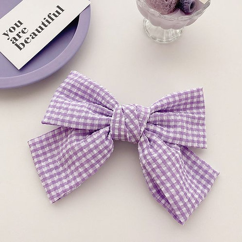 Lilac Gingham Bow Large