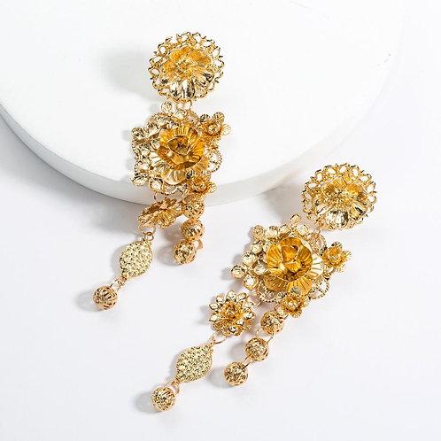 Amber Gold Earring