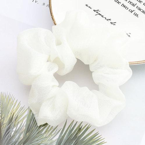 Chiffon White Scrunchie