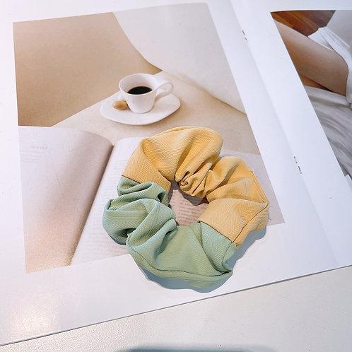 Two Tone Green Yellow Scrunchie