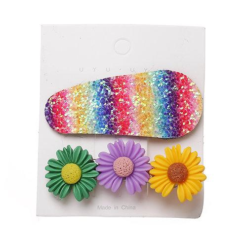 3 Flower & Glitter Clip