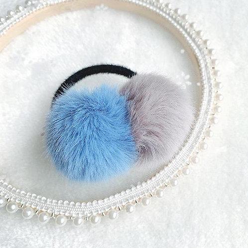 PomPom Bobble Blue FauxFur