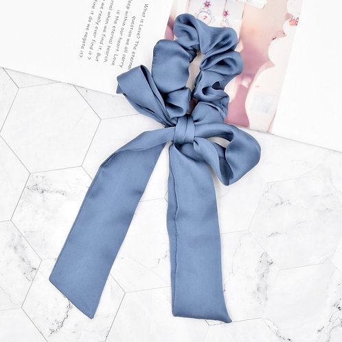 Satin Tie Scrunchie Blue