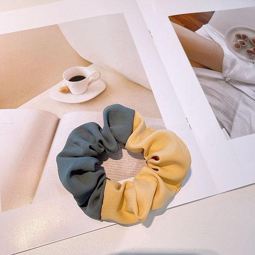 Two Tone Yellow Grey Scrunchie