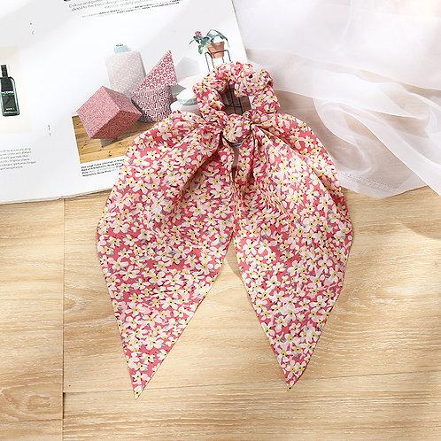 Floral Pink Tie Scrunchie