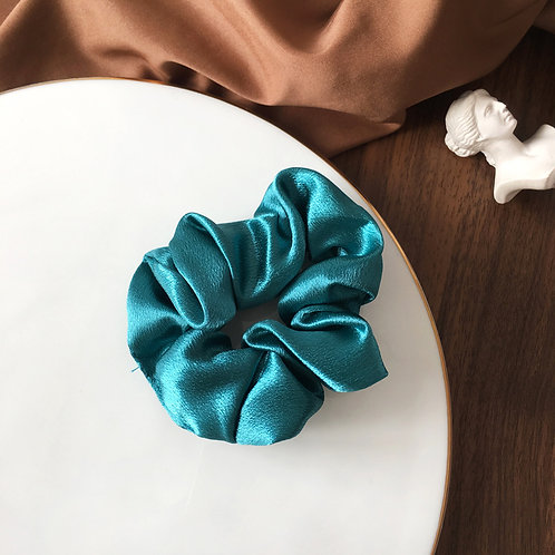 Satin Teal Scrunchie