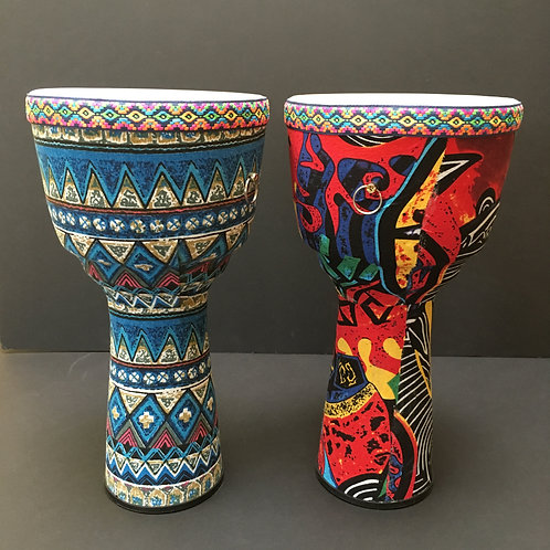 "African Djembe Drum - 8"" white head (red or blue)"