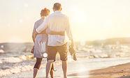 Couple walking on beach