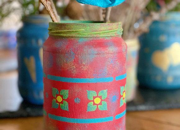 Folk Red Jar