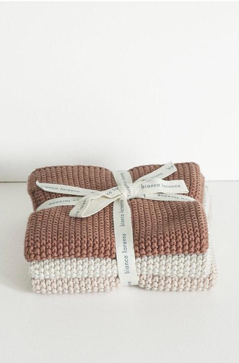 Rose washcloths - set of 3