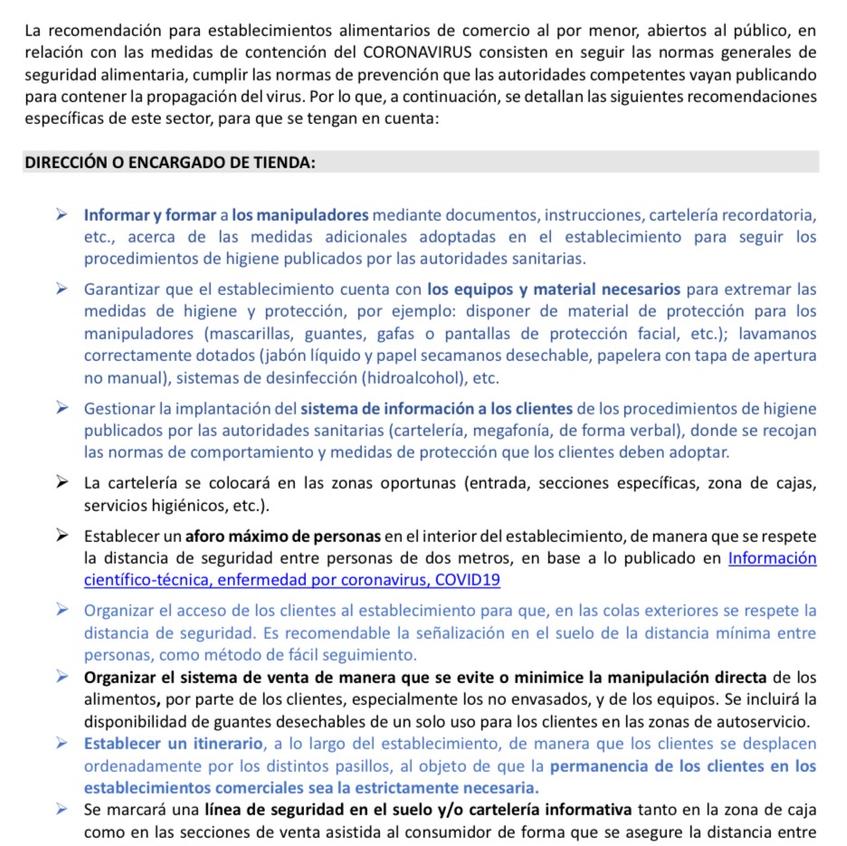 RECOMENDACIONES PARA ESTABLECIMIENTOS ALIMENTARIOS DE COMERCIO AL POR MENOR  CON SERVICIO DIRECTO AL PÚBLICO
