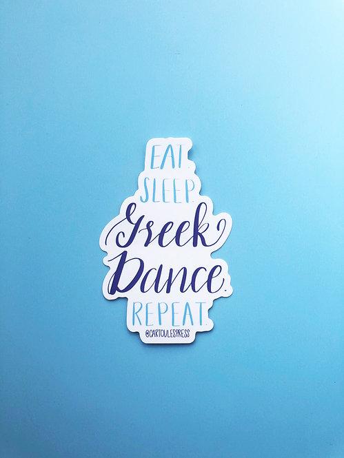 Eat Sleep Greek Dance Repeat Sticker