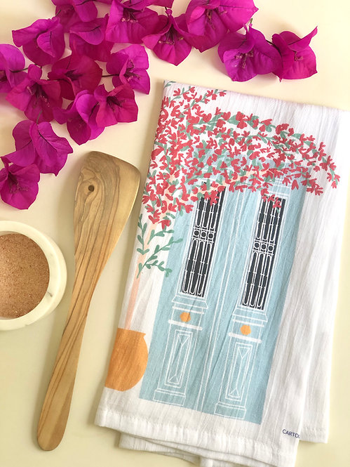 Greek Door & Bougainvillea - Tea Towel