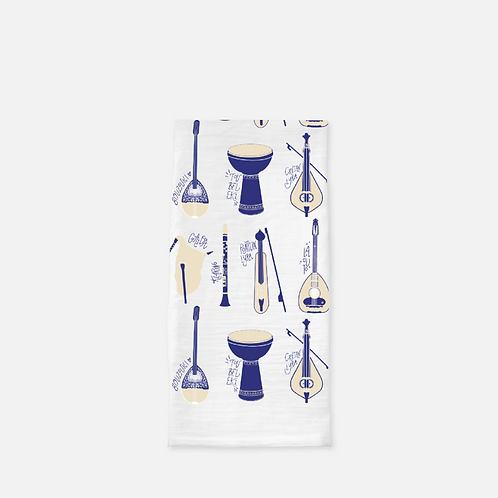 Greek Instruments - Tea Towel