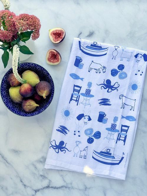 Greek Summer - Tea Towel