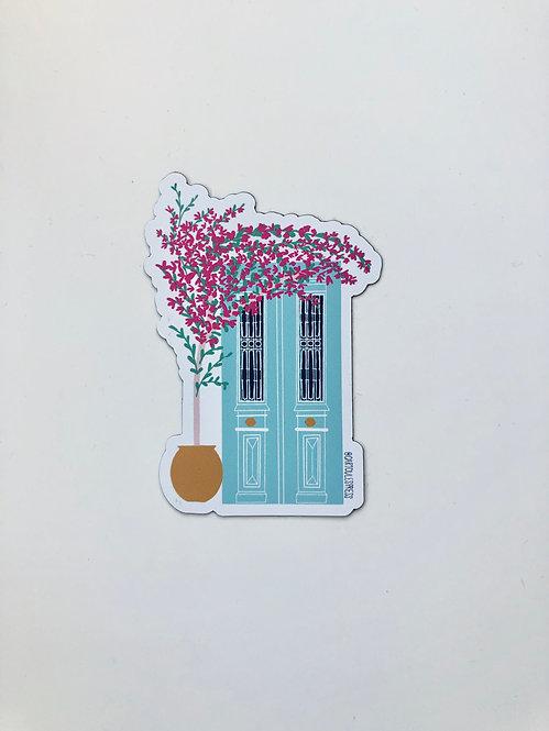 Greek Door and Bougainvillea Magnet
