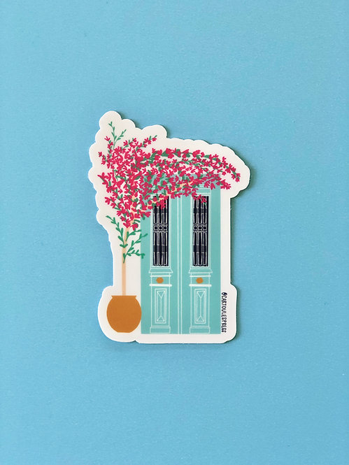 Greek Door and Bougainvillea Sticker
