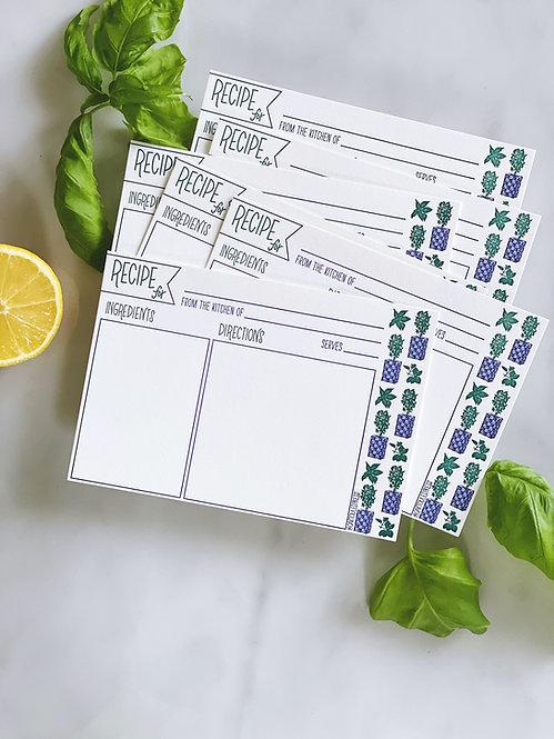 Letterpress Teneke Recipe Cards