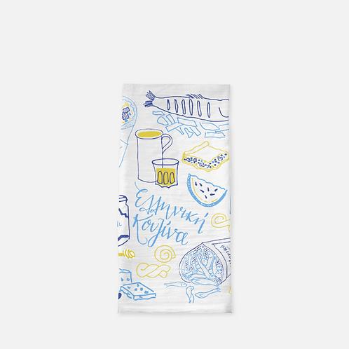 Elliniki Kouzina (Greek Cuisine) Tea Towel