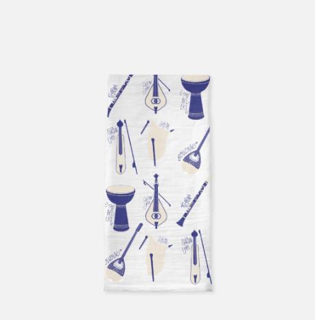 Greek Instruments - Tea Towel