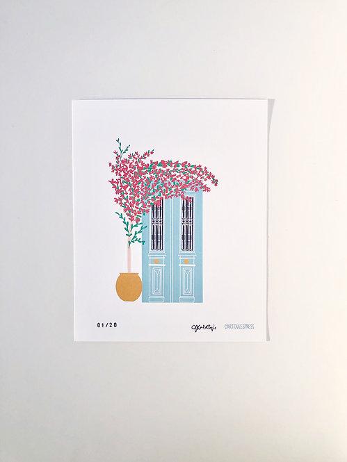 Greek Door & Bougainvillea Print