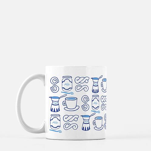 Greek Cafe Pattern Ceramic Mug