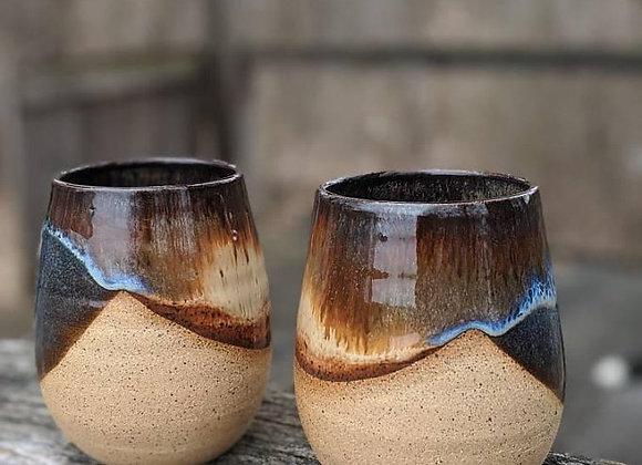 Set of 2 handthrown stoneware wine glasses. Dishwasher and food Safe (Set 13). B