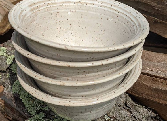 Set of Four Speckled White Bowls