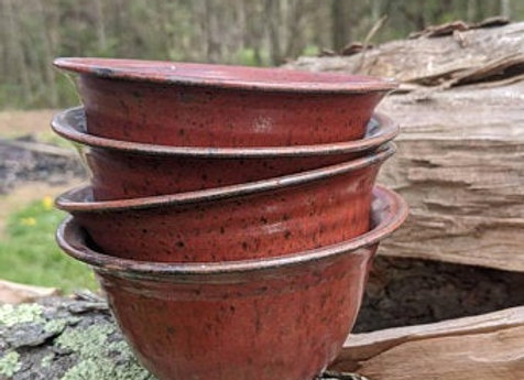 Set of Four Rust Red Bowls