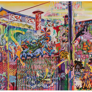 John Capitano LA Graffiti A/C  2017 36 x 49 in