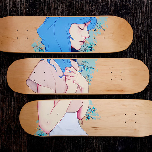 """Ben Nguyen """"Untitled"""" Acrylic and Watercolor on Skateboard 40 x 27 in 2016 SOLD"""