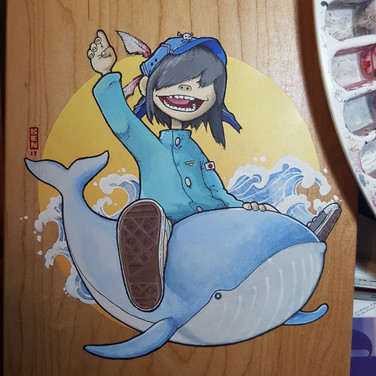 """Ben Nguyen """"Super Fast Jelly Noodle"""" Acrylic, watercolor and ink on Skateboard 32 x 8 in 2017 $500.00 CAD + GST"""