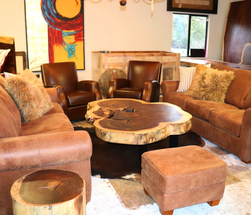 Leather Sofas, Wood Top Coffee Table