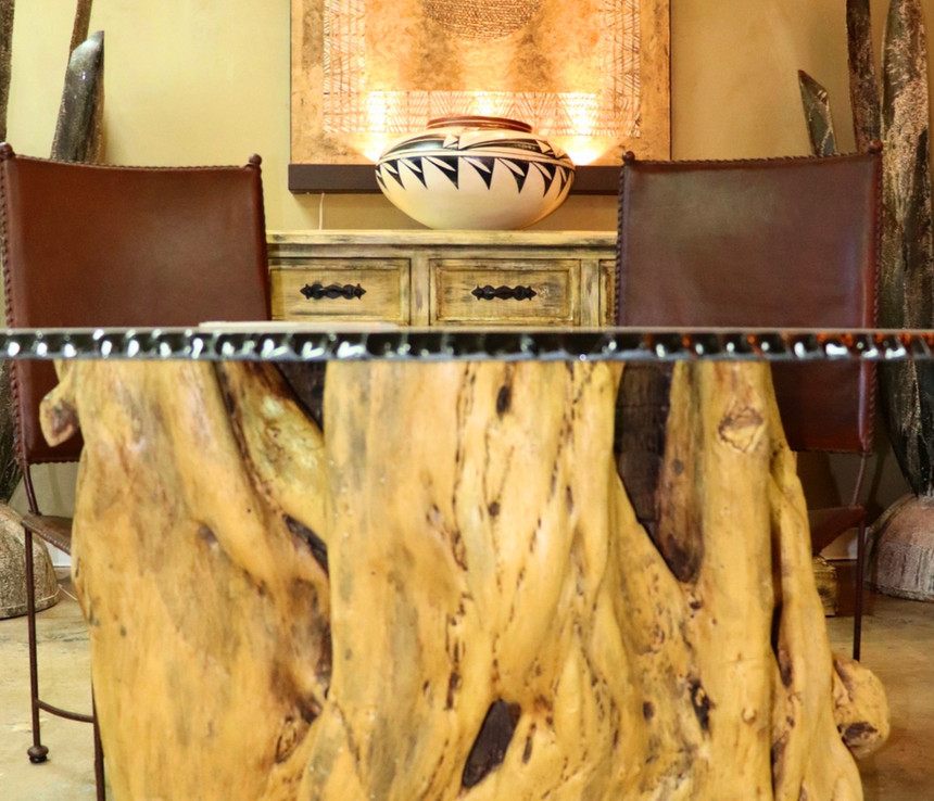 Glass Table Top_ Parota Wood Base