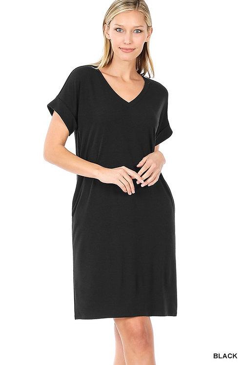 Rolled Short Sleeved V-Neck Dress