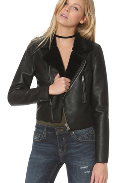Moto Crop Sherling Vegan Leather