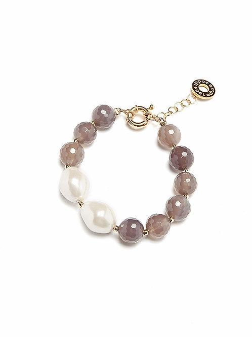 Bracciale perle Barocca e grigio
