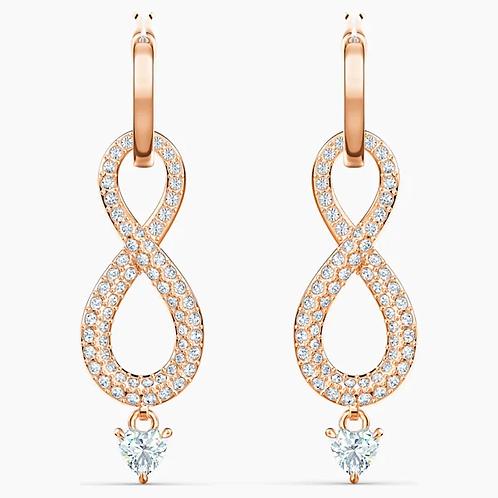 Orecchini Swarovski Infinity, bianco, placcato color oro rosa