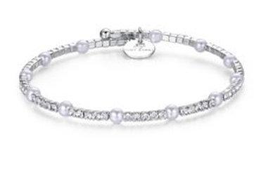 Bracciale con perle e cristalli bianchi