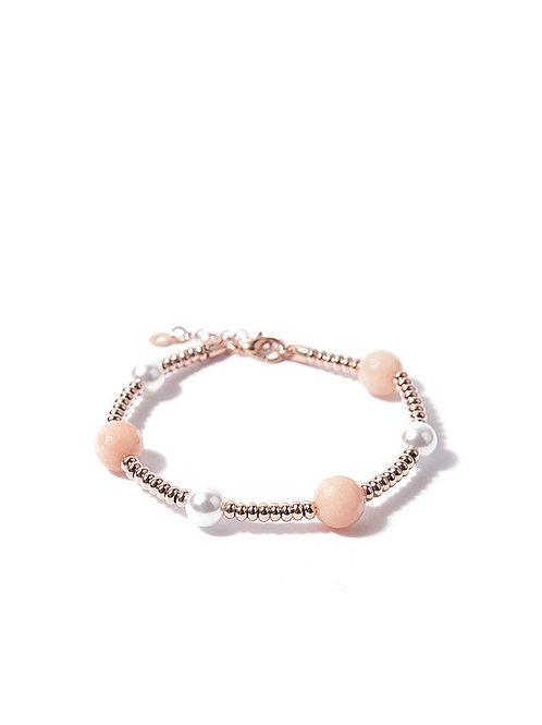 Bracciale argento placato oro rosa con agata rosa e perle
