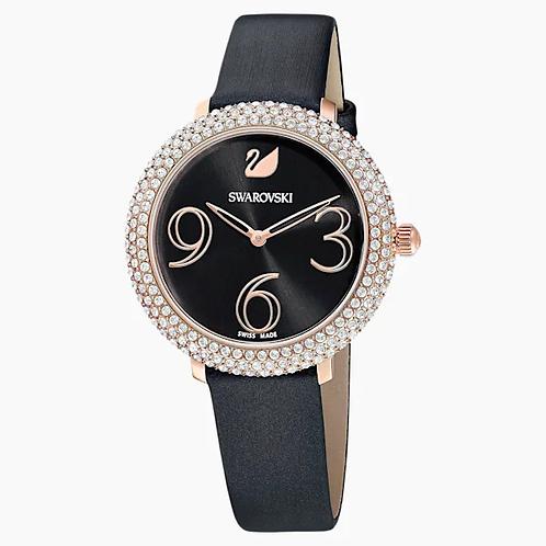 Orologio Crystal Frost, Cinturino in pelle, nero, PVD oro rosa
