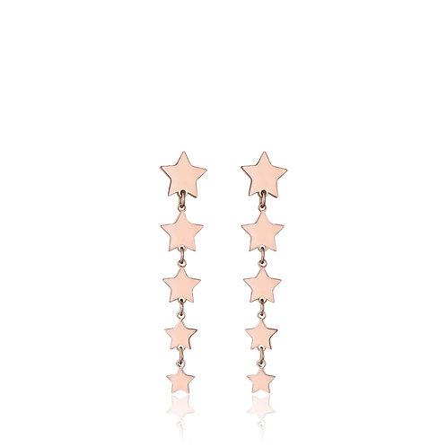 Orecchini in acciaio ip rose con stelle ip rose