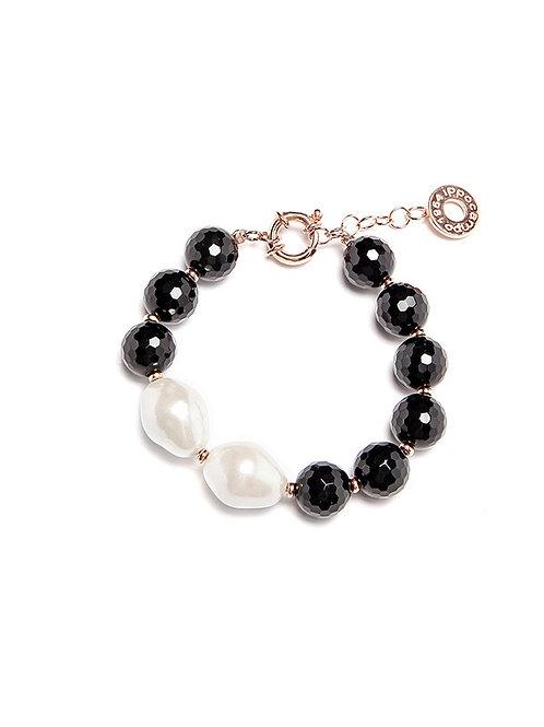 Bracciale perle Barocco e quarzo nera