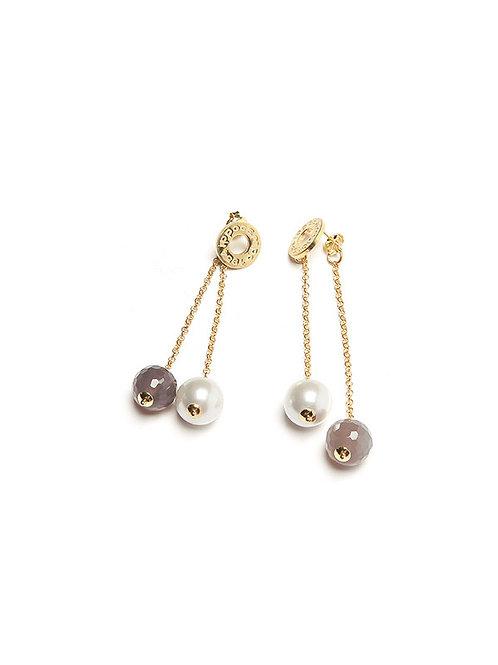Orecchino pendente doppio, perla e grigio