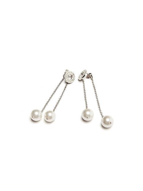 orecchino pendente doppio , perla
