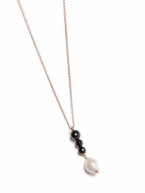 Pendente perle Barocco e quarzo nero