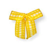 Laço para enfeite, cor amarelo, estampa xadrez