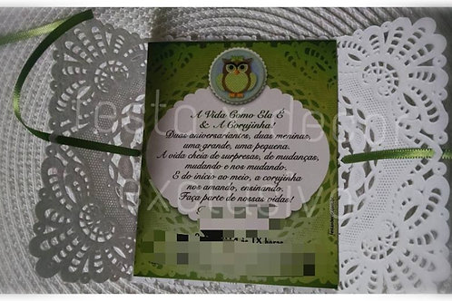 Convite da CORUJINHA ~ PERSONALIZADO PAPELARIA EXCLUSIVA