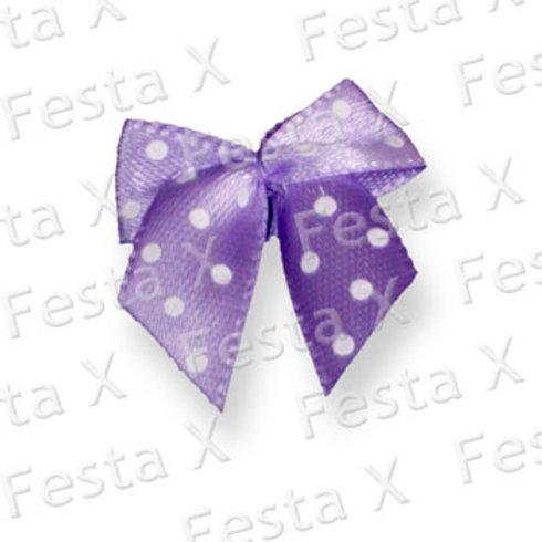 laço de tecido, cor lilás, estampá poás