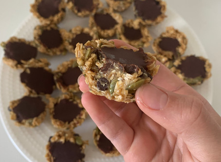 Chocolate Filled Granola Cups (Vegan, No Bake, & Gf)